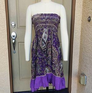 Boho Coachella Gypsy Purple Dress 100% Cotton S